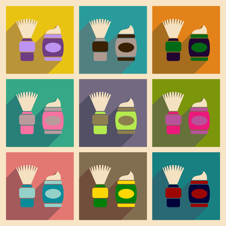 Concept of flat icons with long shadow brush shaving foam Stock Illustratie
