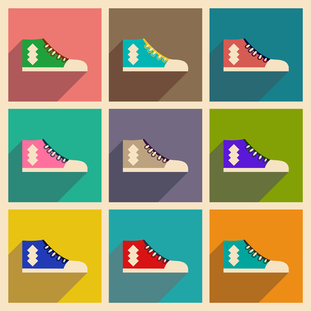 Modern flat icons vector collection with shadow gumshoes Çizim