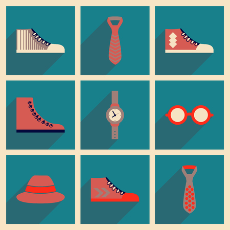 Modern flat icons vector collection with shadow Hipster clothing