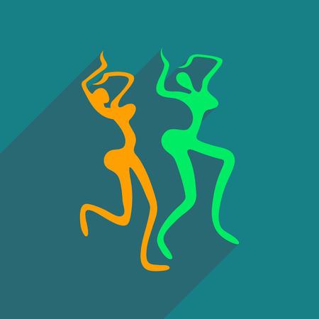sexy girl dance: Flat web icon with long shadow Brazilian dancer Illustration
