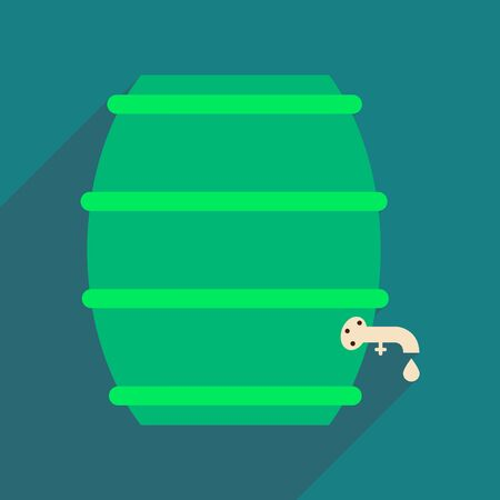 contain: Flat web icon with long shadow keg of beer Illustration