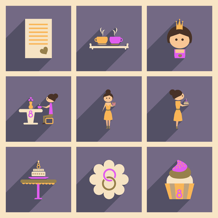Concept of flat icons with long shadow - international womens day