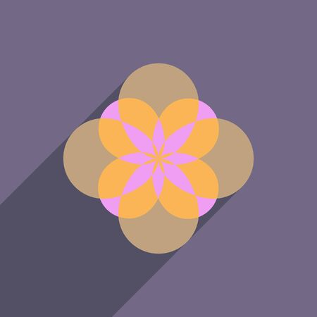 margerite: flat icon with long shadow flower silhouette Illustration