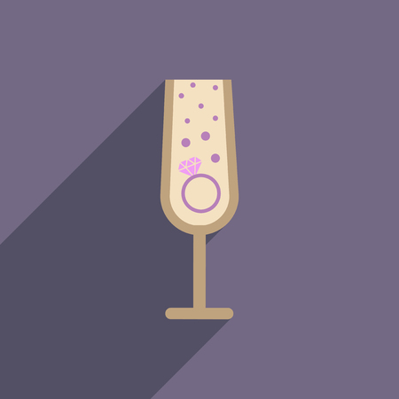 flat icon with long shadow glass champagne Ring