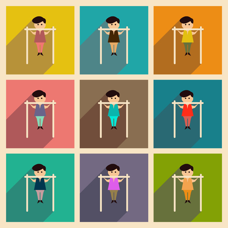 acrobatics: Concept of flat icons with long shadow man horizontal bar Illustration