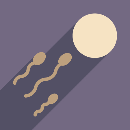 semen: Flat web icon with long shadow egg sperm Illustration