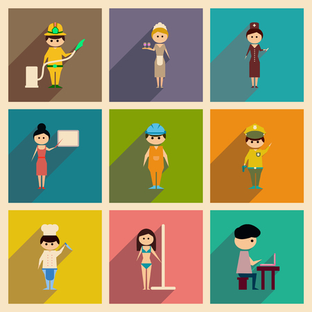 Concept of flat icons with long shadow people profession Stock Illustratie