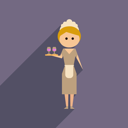 Flat web icon with long shadow girl waitress