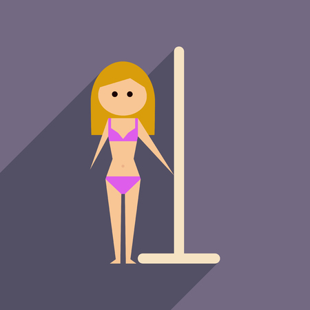 Flat web icon with long shadow woman stripper