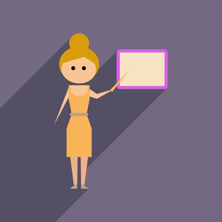 Flat web icon with long shadow woman teacher