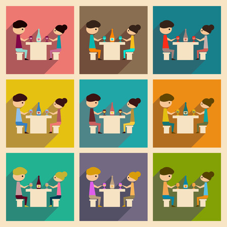 Concept of flat icons with long shadow husband wife dinner Stock Illustratie