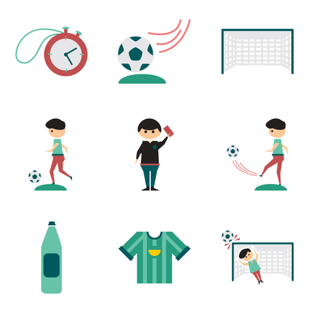 Concept of flat icons on white background football Stock Illustratie