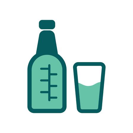 Flat web icon on white background glass bottle