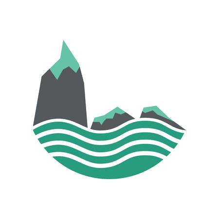 Flat web icon on white background sea cliffs Stock Illustratie
