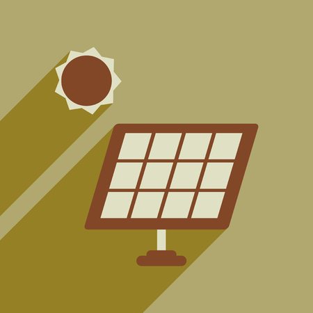 Flat web icon with long shadow solar battery Illustration