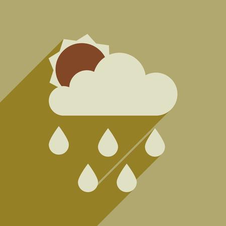 Flat web icon with long shadow sun clouds rain Stock Illustratie