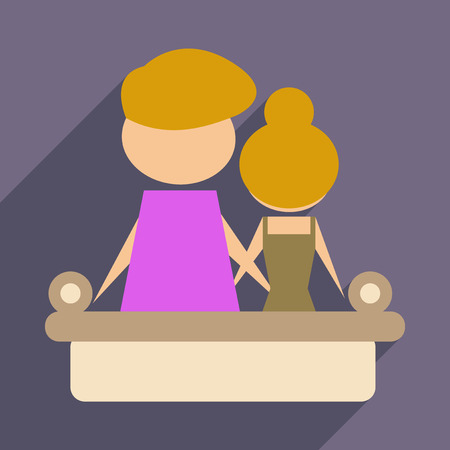 Flat web icon with long shadow man and woman couch