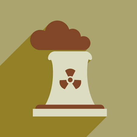 Flat web icon with long shadow air pollution Stock Illustratie