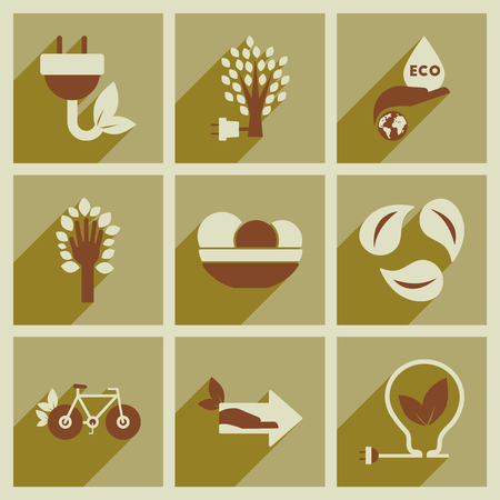 Concept of flat icons with long shadow  ecology Stock Illustratie