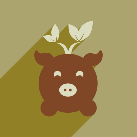 Flat web icon with long shadow eco pig Stock Illustratie
