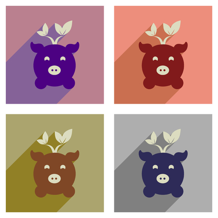 Concept of flat icons with long shadow eco pig Stock Illustratie
