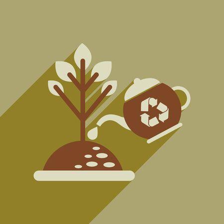 Flat web icon with long shadow watering fertilizer Stock Illustratie