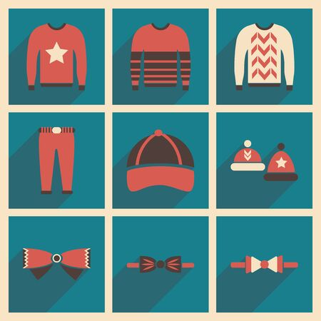 Modern flat icons collection with shadow Men Clothes Stock Illustratie