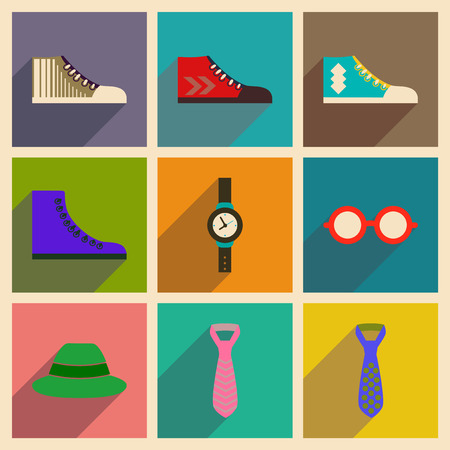 old items: Modern flat icons vector collection with shadow Hipster clothing