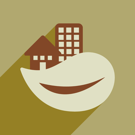 Flat web icon with long shadow Eco-house