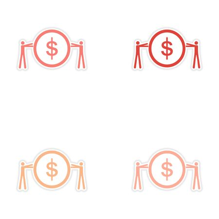 Set of stylish sticker on paper People and coins Illustration