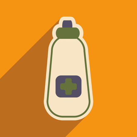 Icon of bottle of medicine in flat style