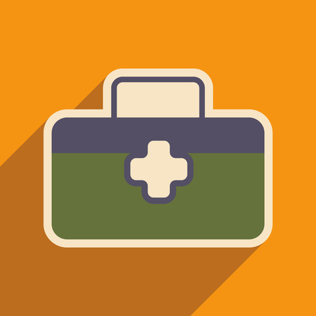 Icon of medical suitcase in flat style Illustration