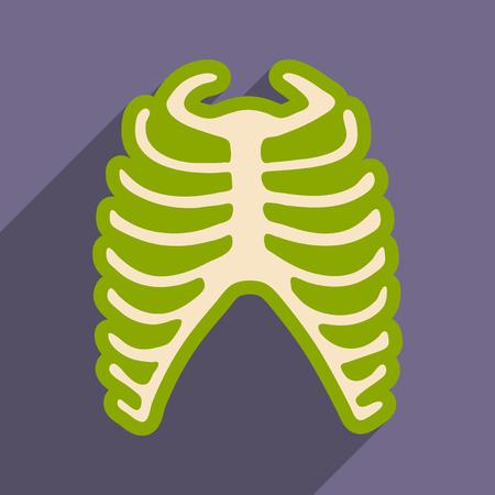 flat icon with long shadow human rib Illustration