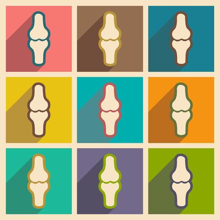 spongy: Set flat icons with long shadow human bone