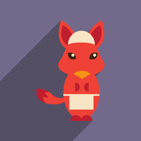 flat icon with long shadow fox cartoon 向量圖像