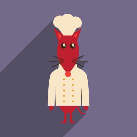 flat icon with long shadow mouse chef