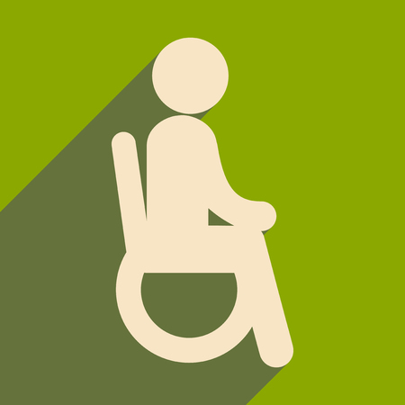 Modern flat icon with long shadow People wheelchair