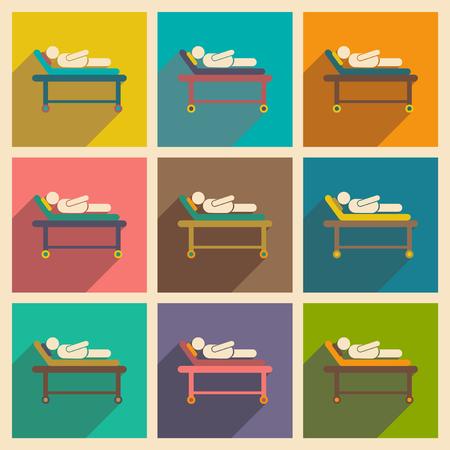 病院のベッドで患者を影でモダンなフラット アイコン コレクション