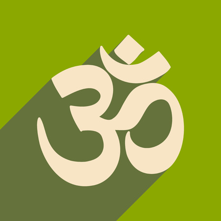 Modern flat icon with long shadow Indian om sign