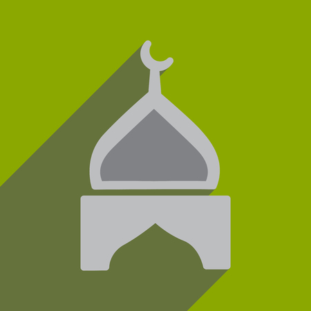 Modern flat icon with long shadow Indian temple Illustration