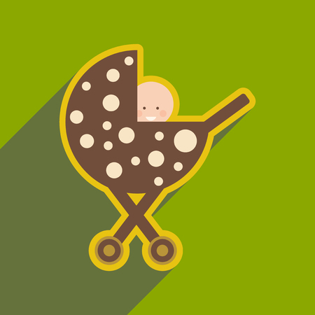 Modern flat icon with long shadow baby in stroller