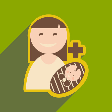 Modern flat icon with long shadow Mother and child Illustration