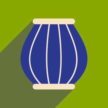 Modern flat icon with long shadow Indian basket
