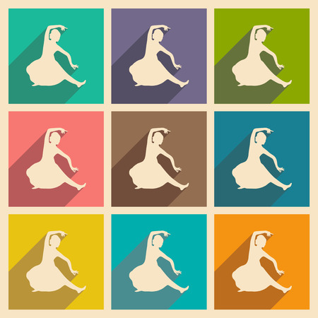 Modern flat icons collection with long shadow Indian dancer
