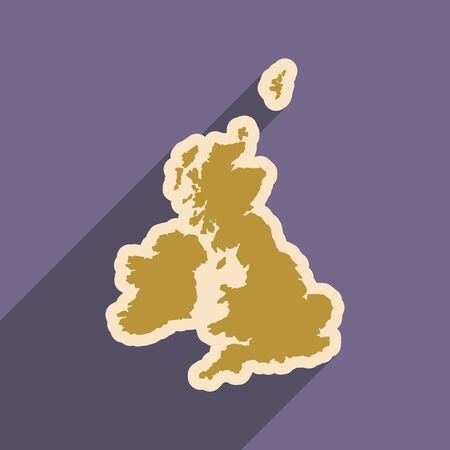 flat icon with long shadow map of Britain Illustration