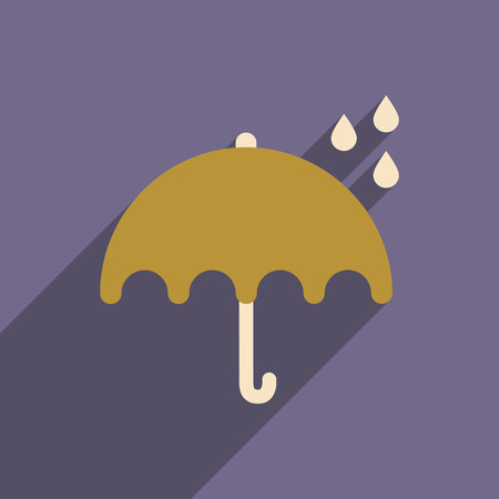 flat icon with long shadow umbrella rain