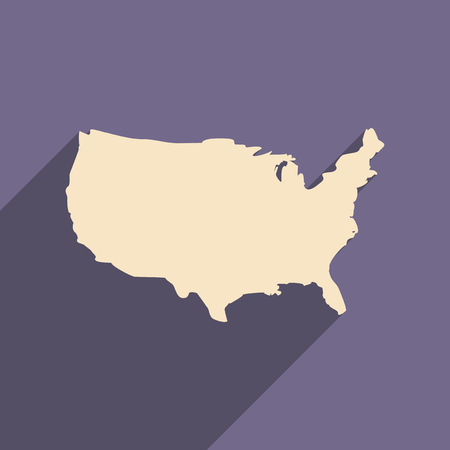 flat icon with long shadow map of America Illustration