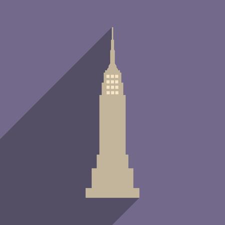Icone plat avec ombre gratte-ciel américain Banque d'images - 83998334
