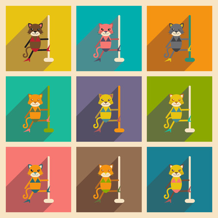 Set of flat icons with long shadow cat cartoon Ilustrace