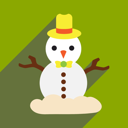 cute: flat icon with long shadow christmas snowman Illustration